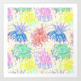 Australian Firewheel Flowers in Mod Rainbow + White Art Print