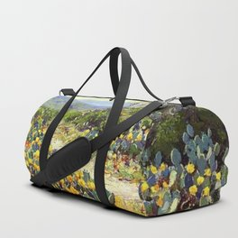 Yellow and Red Cactus Blossoms in the Desert Landscape painting by Robert Julian Onderdonk Duffle Bag