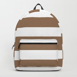Liver chestnut - solid color - white stripes pattern Backpack