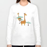 giraffes Long Sleeve T-shirts featuring Giraffes by BlueLela