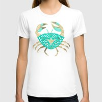 crab T-shirts featuring Crab – Turquoise & Gold by Cat Coquillette
