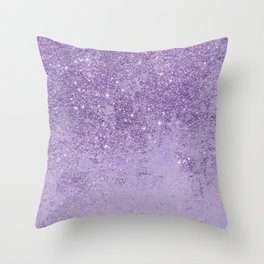 Modern elegant lavender lilac glitter marble Throw Pillow