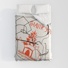 Chinese Food Takeout - Contour Line Drawing Comforters