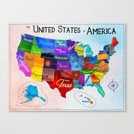 Watercolor Mosaic Map of America Canvas Print