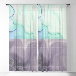 Two toned blue & black night marble Sheer Curtain