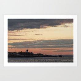 Painted sky over ten pound island light Art Print