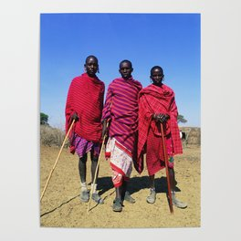 3 African Men from the Maasai Mara Poster