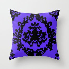 Victorian Damask Purple and Black Throw Pillow