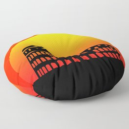 Sunset and colosseum in a red sky Floor Pillow