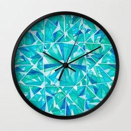 Blue Green Round Gem Wall Clock