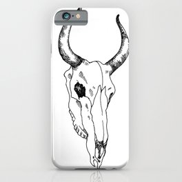 Line drawing of animal skull iPhone Case
