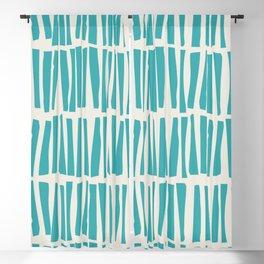 Aqua Teal Turquoise Solid Color Vertical Dash Stripe Line Pattern on Alabaster White - Aquarium SW 6767 Blackout Curtain