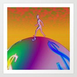 Pop Globe Walker Art Print