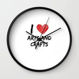 I Love Arts and Crafts Wall Clock