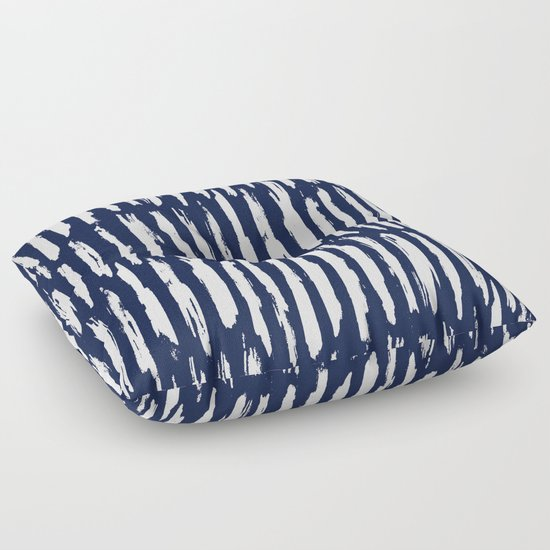 Vertical Dash White on Navy Blue Paint Stripes Floor Pillow by Simple Luxe Society6