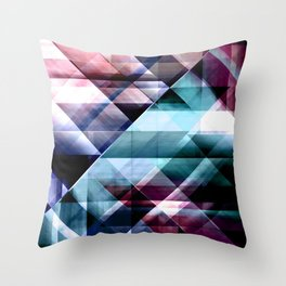 Burgundy Teal and Blue Abstract Geometric Pattern Throw Pillow