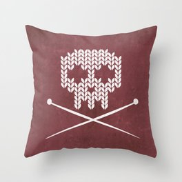 Knitted Skull (White on Red) Throw Pillow