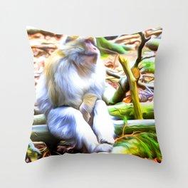 Barbary Ape Art For Animal Lover Throw Pillow