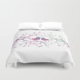 Birds Perched in Tree Duvet Cover