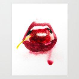 Cherry Lips Art Print