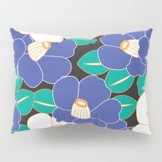 Japanese Style Camellia - Blue and Black Pillow Sham