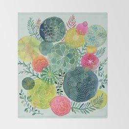 Succulent Circles Throw Blanket