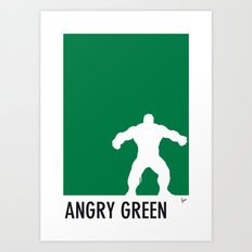 My Superhero 01 Angry Green Minimal poster Art Print