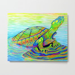 Colorful Psychedelic Neon Painted Turtle Rainbow Turtle Metal Print