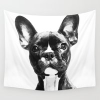 french bulldog Wall Tapestries featuring French BullDog by Maioriz Home