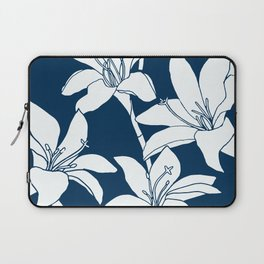 Amaryllis Floral Line Drawing, White Petals on Midnight Blue Laptop Sleeve