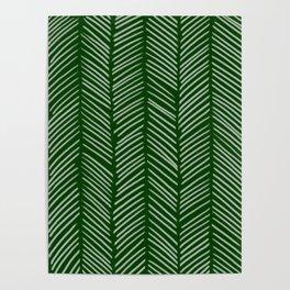 Forest Green Herringbone Poster