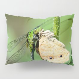 Dragonfly eating butterfly. Pillow Sham