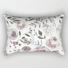 dusty rose floral watercolor Rectangular Pillow