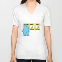 rhino V-neck T-shirts featuring rhino by chee weng
