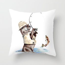 """ Natures Fisherman "" fishing river otter with trout Throw Pillow"