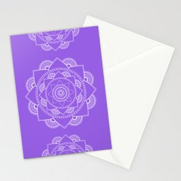 Mandala 01 - White on Lavender Stationery Cards