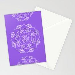 Mandala 01 - White on Lavender Stationery Cards