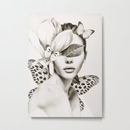 PORTRAIT /Woman with flower and butterflies Metal Print