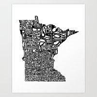 minnesota Art Prints featuring Typographic Minnesota by CAPow!