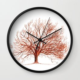 Lonely tree in autumn Wall Clock