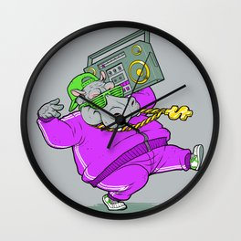 Hip Hop Hippo Wall Clock