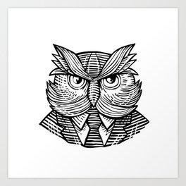 Hip Wise Owl Suit Woodcut Art Print
