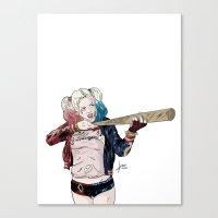 harley quinn Canvas Prints featuring Harley Quinn by jorgeink