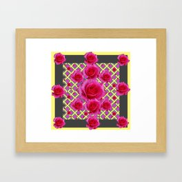 Fuchsia Roses Yellow-Grey Art Framed Art Print