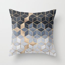 Soft Blue Gradient Cubes Throw Pillow