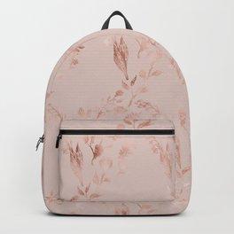 Elegant glam mauve pink rose gold floral pattern Backpack