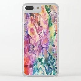 Bright Cheerful Mulitcolor Floral Abstract Clear iPhone Case
