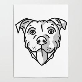 Pitbull Dog Print - black and white halftone Poster