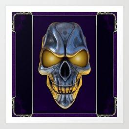 Skull with glowing purple eyes Art Print