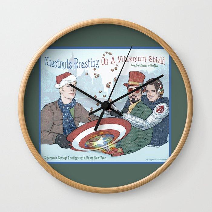 Superheroic Seasons Greetings (Chestnuts Roasting) Wall Clock
